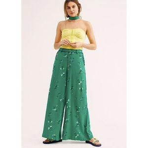 Free People Bennie Green Floral Print Wide Pants